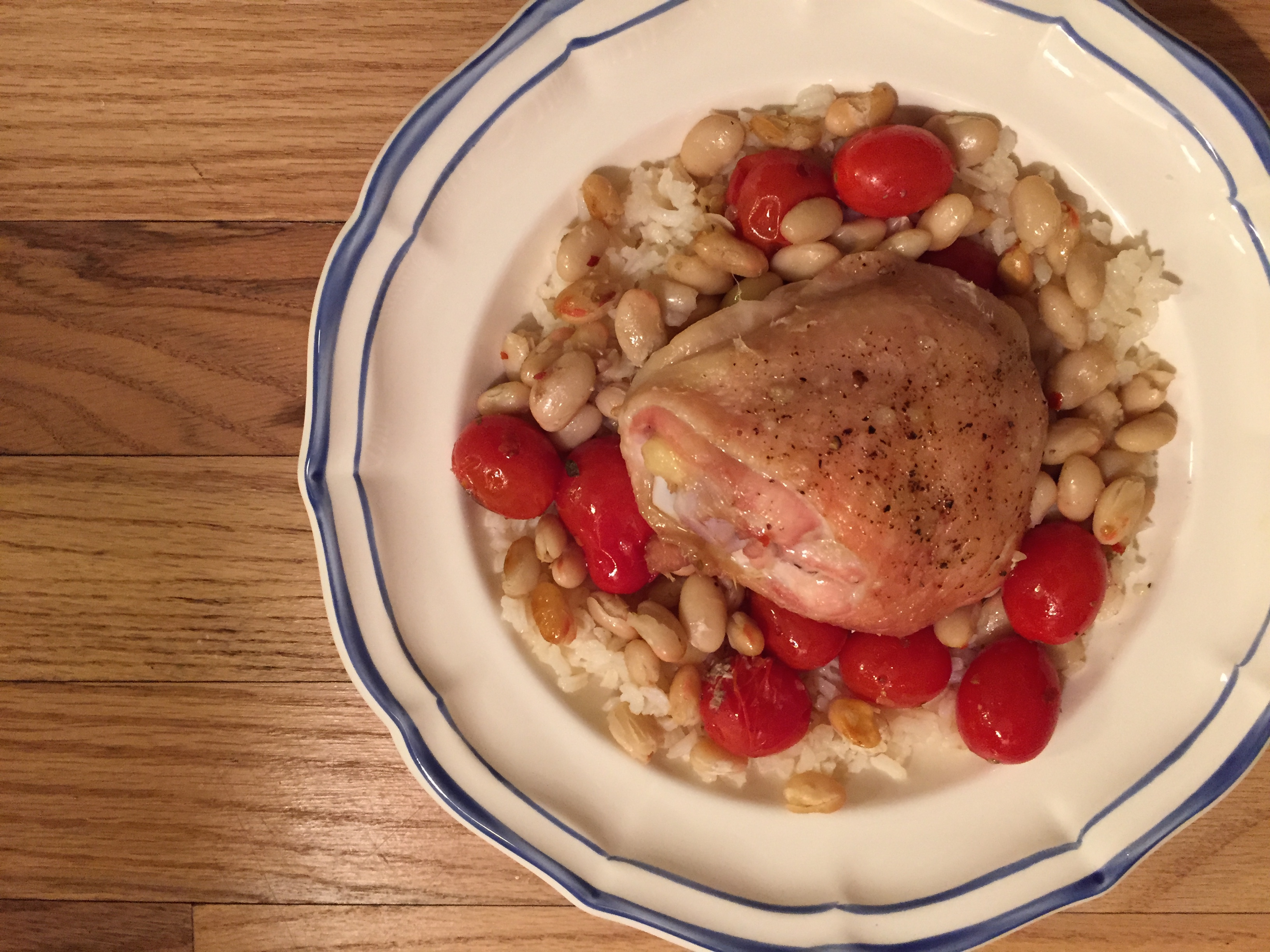 Roasted Chicken with Cannellini Beans and Tomatoes over Rice